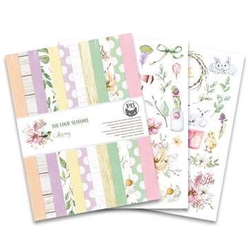 "Happymade - Piatek - Design papers - The Four Seasons - Spring - 6x8"" (pakn. m/24 + 2 bonus ark)"