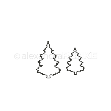 Happymade - Alexandra Renke - Die - Outline Christmas Trees - Large (D-AR-W0101)