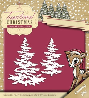 Yvonne Creations die set - Traditional Christmas - Snowy Tree - YCD10053