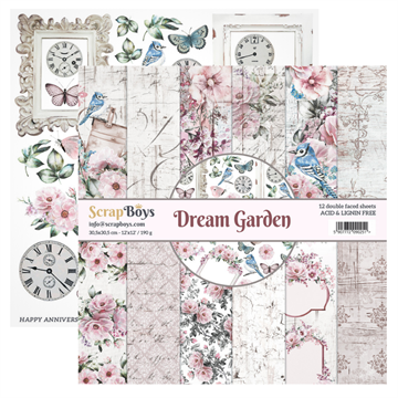 "Happymade - ScrapBoys - Design papers - Dream Garden - 6x6"" (blok m/24 ark + 2 bonus ark)"