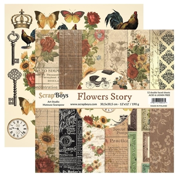 "Happymade - ScrapBoys - Design papers - Flowers Story - 6x6"" (blok m/24 ark + 2 bonus ark)"