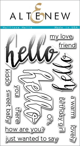 Altenew clear stamp set - Halftone hello