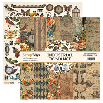 "Happymade - ScrapBoys - Design papers - Industrial Romance - 6x6"" (blok m/24 ark + 2 bonus ark)"