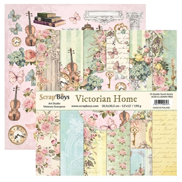 "Happymade - ScrapBoys - Design papers - Victorian Home - 6x6"" (blok m/24 ark + 2 bonus ark)"